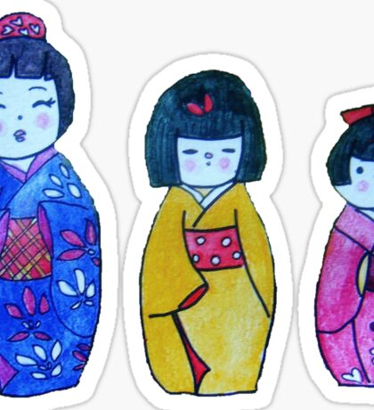 Three Kokeshi Tee Sticker