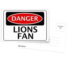 DANGER LIONS FAN FAKE FUNNY SAFETY SIGN SIGNAGE Postcards