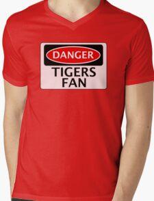 DANGER TIGERS FAN FAKE FUNNY SAFETY SIGN SIGNAGE Mens V-Neck T-Shirt