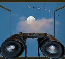 Morning Moon Pop Art by bicyclegirl