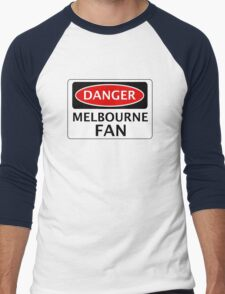 DANGER MELBOURNE FAN FAKE FUNNY SAFETY SIGN SIGNAGE Men's Baseball ¾ T-Shirt