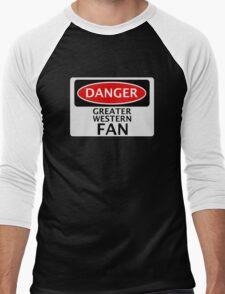 DANGER GREAT WESTERN FAN FAKE FUNNY SAFETY SIGN SIGNAGE Men's Baseball ¾ T-Shirt