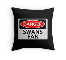 DANGER SWANS FAN FAKE FUNNY SAFETY SIGN SIGNAGE Throw Pillow
