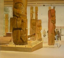 Museum of Anthropology, watercolor on boarc by Sandrine Pelissier