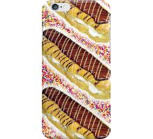Chocolate eclairs on a muti-coloured sugar ball background iPhone Case/Skin