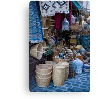 Mid Blue Basket - Sfax Souk Canvas Print