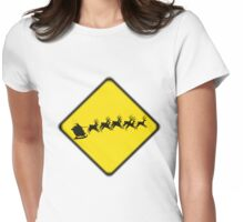 Caution- flying reindeer ahead Womens Fitted T-Shirt