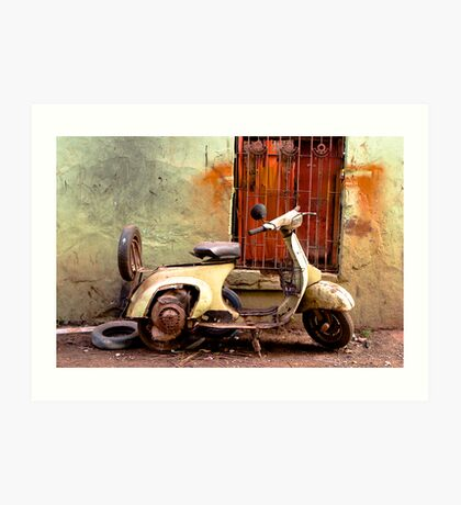 Green and Orange - Rusted Scooter Art Print