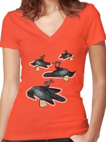 Murder Of Crows Women's Fitted V-Neck T-Shirt