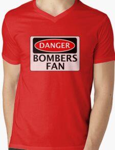 DANGER BOMBERS FAN FAKE FUNNY SAFETY SIGN SIGNAGE Mens V-Neck T-Shirt