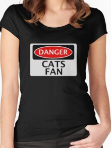 DANGER CATS FAN FAKE FUNNY SAFETY SIGN SIGNAGE Women's Fitted Scoop T-Shirt