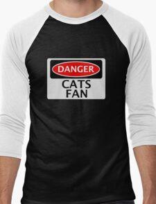 DANGER CATS FAN FAKE FUNNY SAFETY SIGN SIGNAGE Men's Baseball ¾ T-Shirt