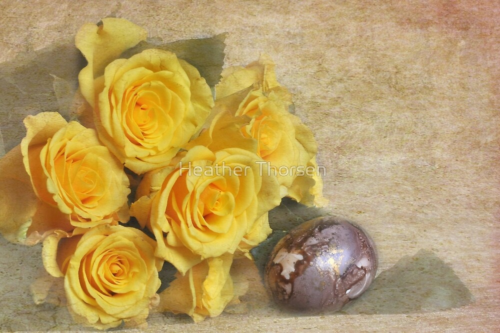 Yellow roses and painted egg by Heather Thorsen