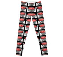 DANGER ZOMBIE ZONE FUNNY FAKE SAFETY SIGN SIGNAGE Leggings