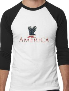 Eagle with Stars and Stripes American Flag Men's Baseball ¾ T-Shirt