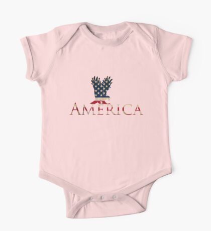 Eagle with Stars and Stripes American Flag One Piece - Short Sleeve