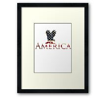 Eagle with Stars and Stripes American Flag Framed Print
