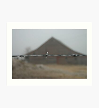 Barn with frosted barbwire fence in front Art Print