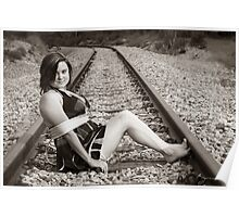 Tied up on train tracks Poster
