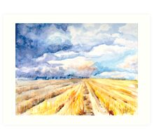 The Gathering Storm - A Stormy Afternoon Over the Field Art Print