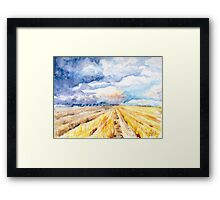 The Gathering Storm - A Stormy Afternoon Over the Field Framed Print