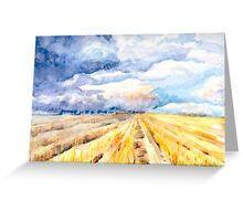 The Gathering Storm - A Stormy Afternoon Over the Field Greeting Card