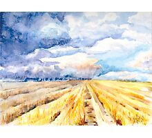 The Gathering Storm - A Stormy Afternoon Over the Field Photographic Print