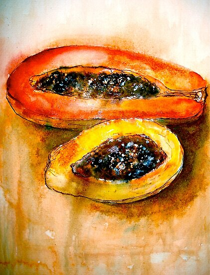 Still Life with Two Papayas by ©Janis Zroback