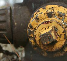 Old Rusty Fire Hydrant with a spot of yellow left by PhotoCrazy6