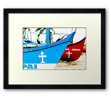 Red and Blue - River Boats Two Framed Print