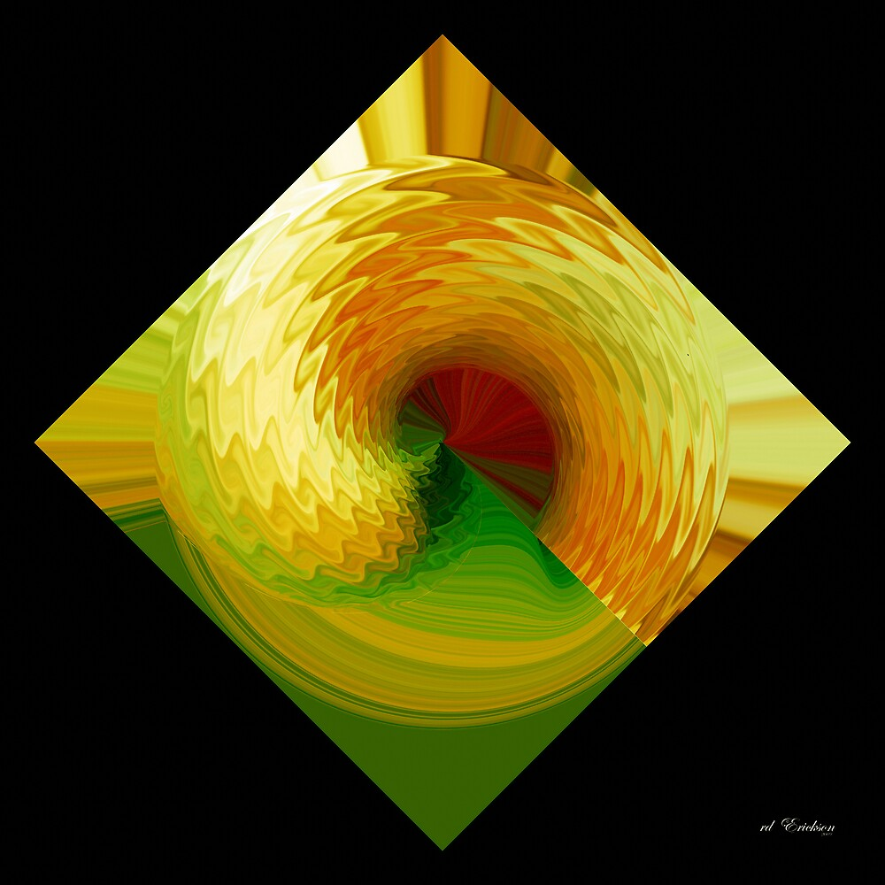 Gold and Green swirl of scales by rd Erickson