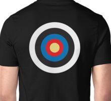 Bulls Eye, Right on Target, MOD Roundel, on BLACK Unisex T-Shirt