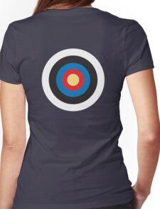 Bulls Eye, Target, MOD, Roundel, on BLACK Womens Fitted T-Shirt