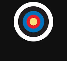 Bulls Eye, Right on Target, MOD Roundel, on BLACK Unisex T-Shirt