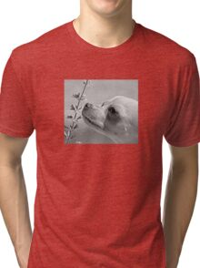 Chihuahua and the Important Message--Take Time to Smell the Flowers Tri-blend T-Shirt