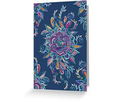 Deep Summer - Watercolor Floral Medallion Greeting Card
