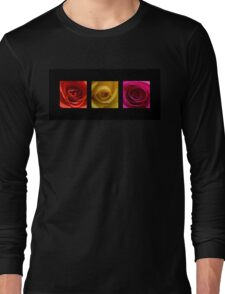 Triptych Orange Yellow & Pink Roses Long Sleeve T-Shirt