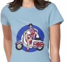 Scooter girl in UJ dress on retro look scooter Womens Fitted T-Shirt