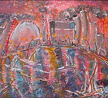 Cityscape, Toronto ,coat of many colours .16x20 acrylic on canvas. by eoconnor