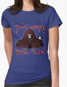 GRIM REAPER AND SIDE KICK/ YOUR SAFE WITH ME Womens Fitted T-Shirt