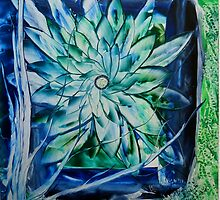 Flower in blue green by DesignByAngela