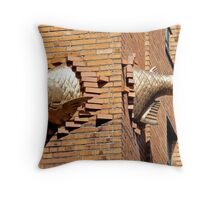 fish swimming through the wall Throw Pillow