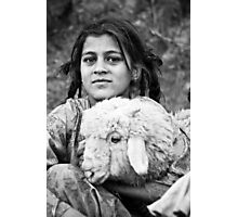 Rural Girl with Sheep - Himilayan Faces Photographic Print