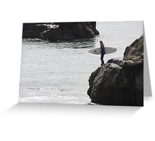 Surfer Girl Ready to jump in Greeting Card