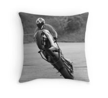 'up on one wheel' Throw Pillow