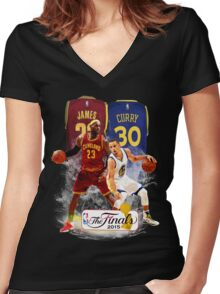 Lebron James vs Stephen Curry Women's Fitted V-Neck T-Shirt