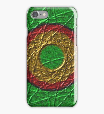 Circle pattern on green background iPhone Case/Skin