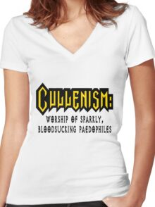 Cullenism: Worship of Sparkly Bloodsucking Paedophiles Women's Fitted V-Neck T-Shirt
