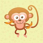 Smiling Baby Monkey with Bananas by Zoo-co