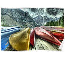 """Canoes""""  Moraine Lake Alberta Poster"""